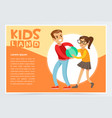 boy bullying a girl teen kids quarreling vector image vector image