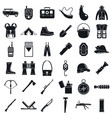 camping hunting equipment icons set simple style vector image