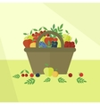 Card with fruits and berries in flat style vector image vector image