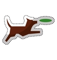 cute dog mascot with toy isolated icon vector image