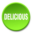 delicious green round flat isolated push button vector image vector image
