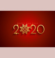 elegant red and gold happy new year 2020 vector image