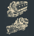 engine and gearbox vector image