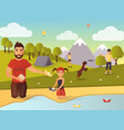 family outdoor games in flat vector image vector image