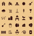Farming color icons on brown background vector image vector image
