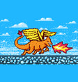 fire dragon and clouds game concept pixel art 8 vector image vector image