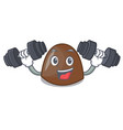 fitness chocolate candies character cartoon vector image vector image