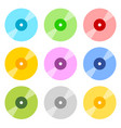 flat cd dvd icons in 9 color vector image
