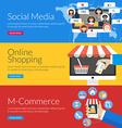 Flat design concept for social media online vector image vector image