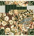 flower leaf written chain wild animal skin fabric vector image vector image