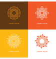 four abstract linear sun logo vector image vector image