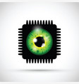 green realistic eyeball on a microchip vector image