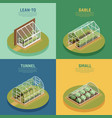 greenhouse hothouse conservatory isometric set vector image vector image