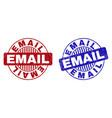 grunge email textured round stamp seals vector image vector image