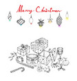 hand drawn of lovely christmas ornaments and gifts vector image vector image