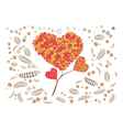 heart flower with leaf pattern background vector image