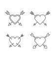 hearts with arrows vector image