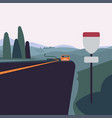 highway scene with distant car vector image vector image