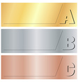 horizontal banners with the letters A B C on gold vector image vector image