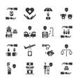 insurance icon set vector image vector image