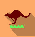 kangaroo is running on grass in flat style with vector image vector image