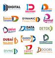 letter d symbols identity elements vector image vector image