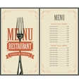 menu with fork for restaurant vector image vector image