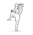 muay thai thai boxing action vector image