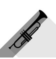 musical instrument trumpet sign black vector image vector image