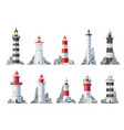 nautical lighthouse buildings isolated icons vector image