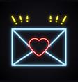 neon love letter envelope sign bright light heart vector image