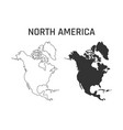 north america map icon outline and silhouette vector image