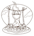 pot on the fire logo picnic tourism travel vector image