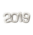 realistic 2019 silver air balloons new year vector image vector image