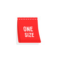 red one size label like clothes tag vector image