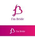 ribbon B letter heart sign Monogram vector image