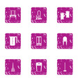room cleaning icons set grunge style vector image vector image