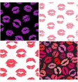 Set of 4 seamless patterns with lipstick kisses vector image vector image