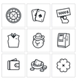 Set of Casino Icons Roulette Deck Win vector image
