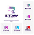 set of letter r digital logo design concept vector image