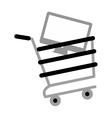 shopping cart online computer digital gray color vector image