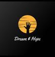 sunset sunrise hand dream hope logo design vector image vector image