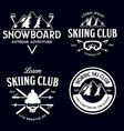 vintage ski or winter sports logos badges vector image vector image