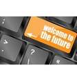 welcome to the future text on laptop keyboard key vector image vector image
