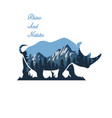 wild rhino and nature vector image