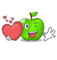 with heart perfect fresh green apple on cartoon vector image