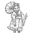 woman in kimono with umbrella color flat cartoon vector image