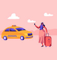young woman with luggage standing on street vector image