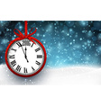 2016 New year background with red clock vector image