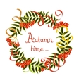 Frame of autumn leaves and rowan berries on a vector image